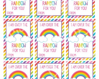 Rainbow Valentine's Day Cards (set of 9) , Valentine's Day Cards, Printable,Instant Download, Digital