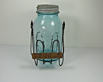 Vintage BLUE BALL CANNiNG JAR & Wire Holder RUSTiC Wood Handle Circa 1920s Perfect Mason