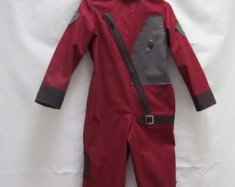 ONLY 1 AVAILABLE! Child's Baby Groot Starlord Flightsuit: All Cotton Fabric, Kid's Size 5, Ready To Ship Now