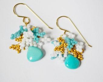 Beaded Earrings, Beadwork Earrings, Arizona Turquoise Earrings, Seed Bead Earrings, Bohemian Turquoise Earrings, 14kt Gold Fill