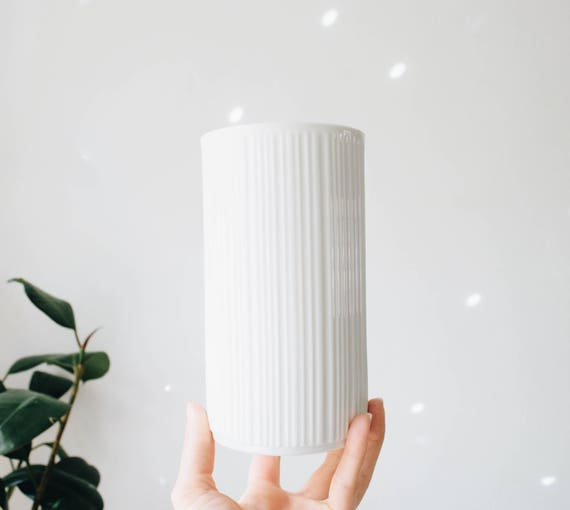 Mid Century Modern Glazed White Porcelain Lined Vase // Melitta Germany // Scandinavian Home Decor