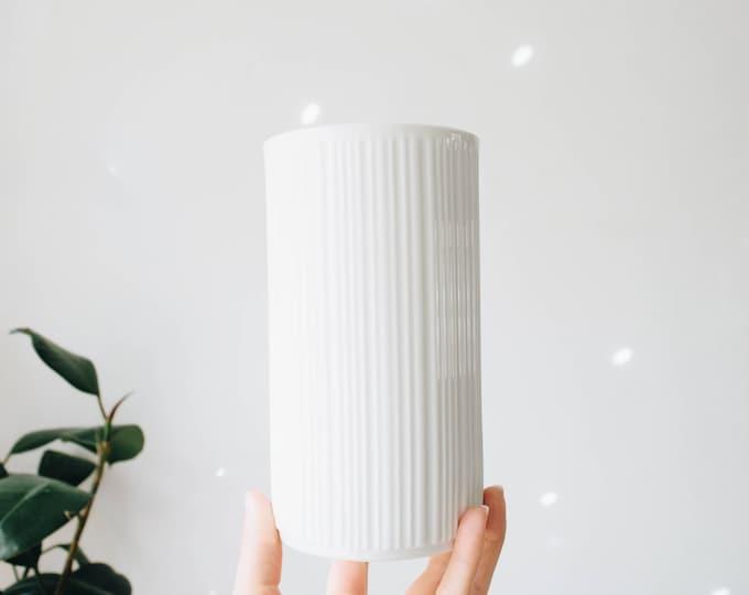 Mid Century Modern Glazed White Porcelain Lined Vase // Melitta Germany // Scandinavian Home Decor