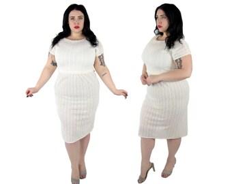 Plus Size Vintage 1970's White Lace Dress - Size XL