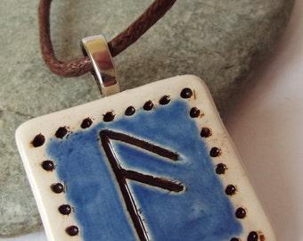 Ceramic Pottery Elder Futhark Rune Pendant, Ansuz Rune Necklace, Asatru, Heathen, Viking, Norse, Rune Jewellery, Pagan Pottery, Rune Gift