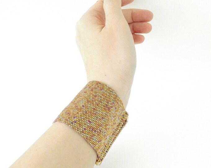 Thick Gold Cuff, Beaded Cuff, Gold Bracelet, Wonder Woman Cuffs, Thick Cuff, Thick Bracelet