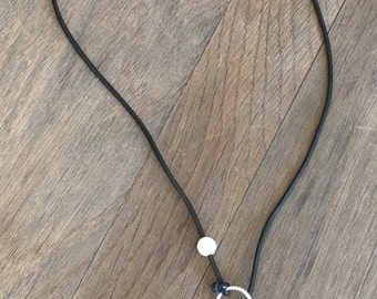 BoHo Freshwater Pearl and Black leather lariat Necklace