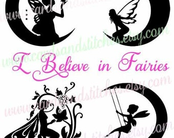 Fairies SVG - Believe SVG - Digital Cutting File - Silhouette SVG - Graphic Design - Vector Cut - Instant Download - Svg, Dxf, Jpg, Eps, Png