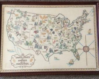 Vintage Linen Sampler Hand Embroidered United States in Frame