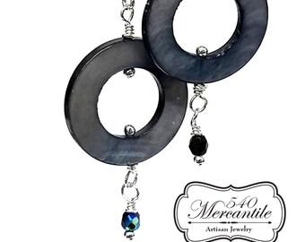 Blue Black Mother of Pearl Dangle Earrings