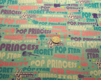 Hannah Montana cotton flannel fabric        2 yards ....     free shipping