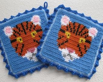 Tiger Pot Holders. Delft blue, crochet pot holders.  Animal potholders