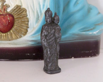 Early 1900's VIRGIN MARY St Anne Petite Medal French Statue- Perfect for everyday protection