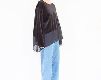 90s Sheer Panel Oversize Velvet Blouse