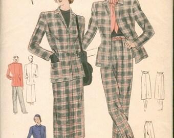 Super Unused Vintage 1940s Vogue Special Design S-4773 Suit, Jacket, Skirt & Slacks Pants Sewing Pattern B36 W30