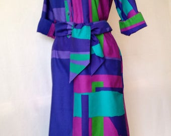 Catherine Ogust Penthouse Gallery dress vintage 70s mod psychedelic blue violet green magenta size S