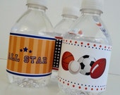 Sports Water Bottle Label Digital Download Birthday Football Basketball Soccer Baseball Team