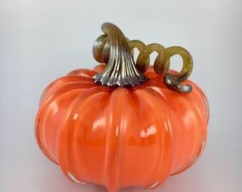 """4"""" Glass Pumpkin by Jonathan Winfisky - Opaque Bright Tangerine - Hand Blown Glass"""