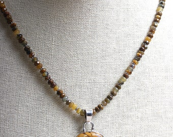 Stunning Bracciated Mookaite & Smoky Quartz with Sterling Silver Pendant and Yellow Pietersite Necklace