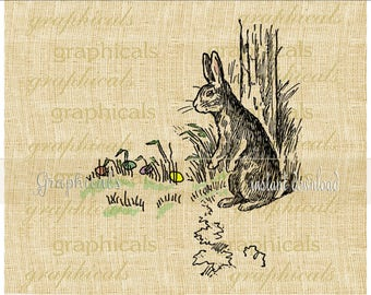 Easter Bunny Eggs instant clip art Digital download for iron on transfer to fabric papercraft decoupage pillows tote bags cards No. 2335
