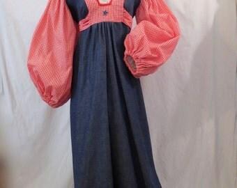 GRAND OLE OPRY red white blue denim maxi peasant dress M/L