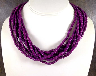 Seed Bead Necklace, Purple, Statement Necklace, Multistrand Necklace, Chunky Necklace, Beaded Necklace, Purple Bead Necklace, Glass