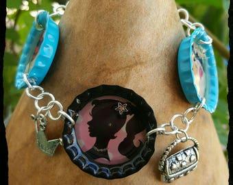 Pop art bracelet, bottle cap bracelet, comic book bracelet, charm bracelet, retro bracelet, barbie girl