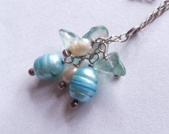SALE Vintage Sterling Silver Handpicked Blue and White Pearl Dangle Cluster Necklace