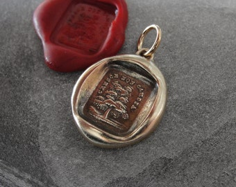 Tree Wax Seal Charm - antique wax seal jewelry pendant Evergreen Tree Italian motto Grow Don't Change by RQP Studio