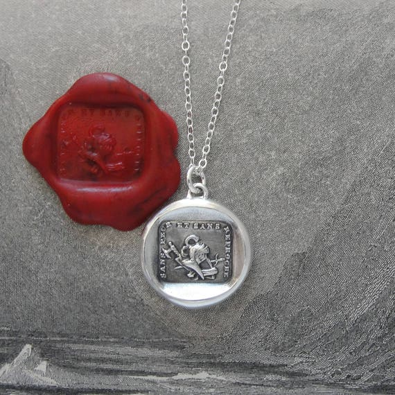 Wax Seal Necklace Courage to Fight - antique wax seal charm jewelry warrior battle axe Without Fear by RQP Studio