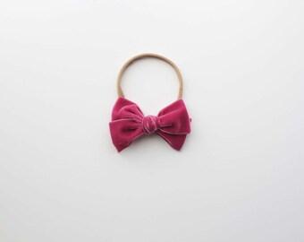 The Sweet Plum Velvet Tied Bow Headband or Clip, Velvet Bow, Plum Velvet Bow