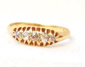 Victorian Antique Diamond 18K Yellow Gold Ring, Engagement, Wedding, Anniversary
