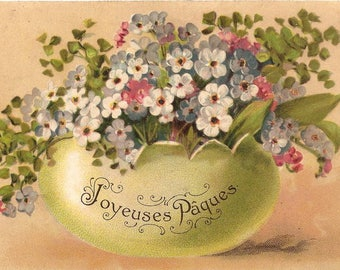 Big Easter Egg with Spring Flowers Antique French Easter Postcard Chromollithograph Chromo Post Card from Vintage Paper Attic