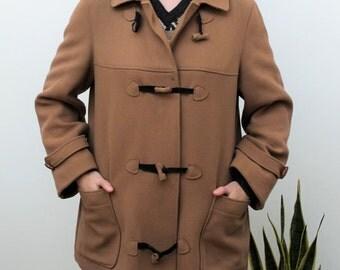 Tan Mixed Wool Duffle Coat Size UK 10/12, US 6/8, EU 38/40