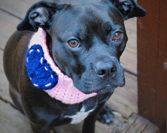 Crochet Dog Cowl Pink with Navy Blue Heart Made to Order