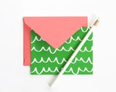 Blank Note Cards Stationary Set Thank You Notes Colorful Girls Stationery Hostess Gifts Green and Coral Scallop Cards Blank Greeting Cards