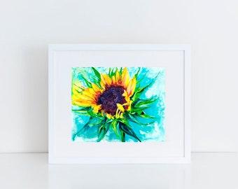 "16x20"" Sunflower Art Abstract Watercolor Art Poster Print [Watercolor Sunflower Print Sunflower Painting Sunflower Art Sunflower Watercolor]"