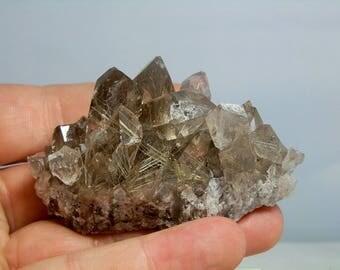 Quartz Crystal Cluster Rutilated Display Specimen Nice Quality Display Specimen Minas Gerais, Brazil 110 grams in Weight