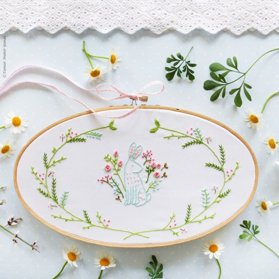 Easter bunny embroidery kit floral spring