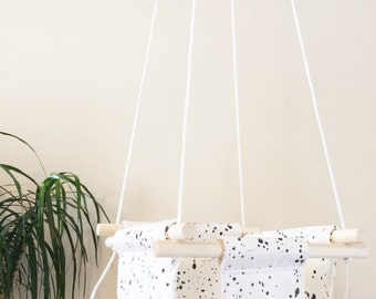 Black and White Spot Fabric with Leatherette Details - Baby and Toddler Swing - Fabric and Wood Interior Swing