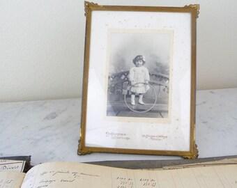 Antique French Photograph Girl, Paris, Framed Vintage Portrait Child, Sepia Photograph, Black and White Portrait, Vintage French Nursery
