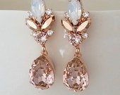 Blush chandelier earrings,Morganite earrings,Blush Bridal earrings,Bridal earrings,Vintage earrings,Swarovski earring,Bridal wedding jewelry