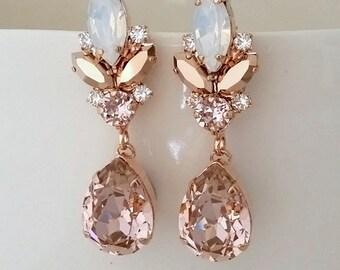 Blush chandelier earrings,Morganite earrings,Blush Bridal earrings,Bridal earrings,Vintage earrings,Swarovski earring,Bridal wedding jewelry