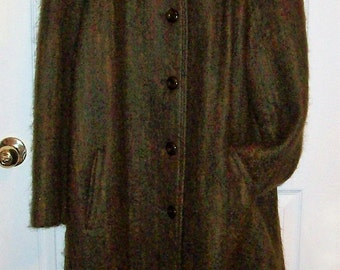 Vintage Ladies Brown Mohair Coat by Elegant Fashions Size 16 Only 30 USD