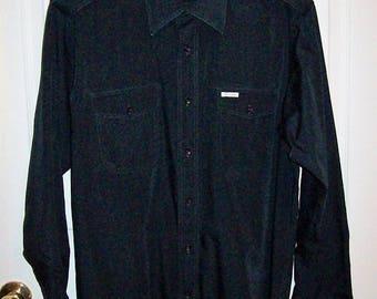 Vintage 1970s Mens Black Military Style Dress Shirt w/ Epaulettes by Oscar de la Renta Large Only 10 USD