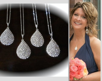 SALE ~ Pave crystal rhinestone teardrop necklace ~ Large ~ Sterling silver ~ Bridal jewelry ~  Bridesmaids ~ Luminous ~ Gift