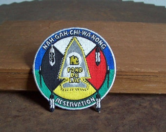 Vintage iron on patch Fond Du Lac Reservation Nah Gah Chi Wa Nong free shipping to USA