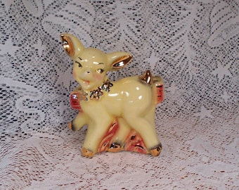 Vintage Yellow and Gold Deer Planter Pink Accents Nursery Baby Planter
