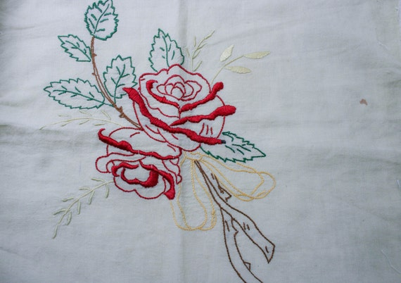 A palm reading hand is embroidered by me with 100% cotton tea-dyed muslin
