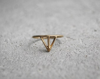 TAIKA Ring bronze or silver - hand carved unique design minimalist skinny thin ring in recycled silver / golden bronze, Wild & Arrow