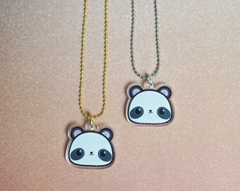 Kawaii Panda Bear Acrylic Charm Necklace- Halloween Jewelry Collection